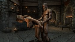 [SKYRIM]  Sexy lady with old man 2