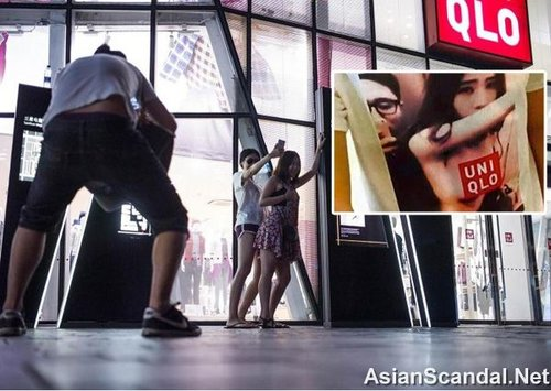 Chinese young couple had sex in the dressing room of Uniqlo shop in Sunlitun, Beijing
