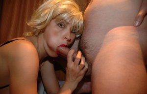 Blonde girlfriend giving a blow job